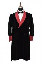 Men Black Smoking Gown Designer Robes Wedding Party Wear Gown