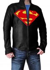 man of steel superman black real leather jacket