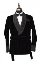Men Black Smoking Robes Designer Wedding Party Wear Robes