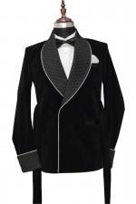 Men Black Smoking Robes Designer Party Wear Blazer