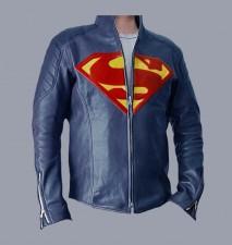 man of steel superman blue real leather jacket