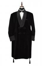 Men Black Smoking Sherwani Jacket Designer Party Wear Wedding Long Coats