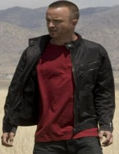 Aaron Paul black real leather jacket