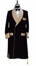 Men Black Smoking Sherwani Robes Designer Elegant Luxury Party Wear Long Coat