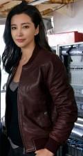 Bingbing Li Meg Movie Suyin Brown Leather Jacket