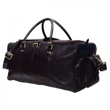 Black real leather weekend duffel Travel Leather bag
