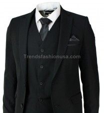 Men Wedding Groom Black Tailored Fit High Quality 3 Piece Suit