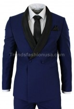 Men Blue Designer Wedding Grooms Tuxedo Dinner Casual Suit