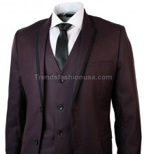 Men Designer Wedding Grooms Burgundy Dinner Casual 3 Piece Suit