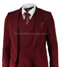 Men Designer Wedding Grooms Maroon Dinner Casual Suit