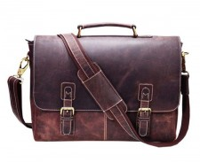 Dark Brown Real Leather Laptop Bag