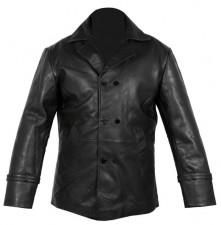 Vintage mens black real leather pea coat jacket