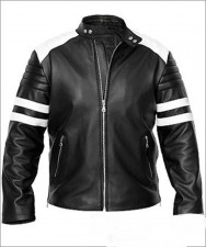 Fight club fc tyler durden brad pitt black real leather jacket