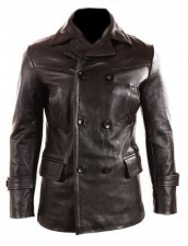German submariner ww2 cowhide black leather jacket pea coat