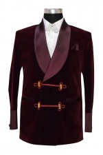 Men's Bilberry Smoking Velvet Stylish Burgundy Shawl Blazer Coat Jackets