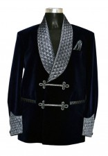 Man Smoking Navy Blue Quilted Velvet Blazer Coat