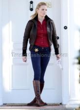 Jennifer Morrison Dark Brown Once Upon A Time Real Sheep Skin Leather Jacket