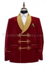 Men Smoking Red Velvet 3 Buttons Blazer Coat