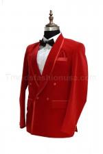 Men Smoking Red Velvet Piping Designer Coat Blazer