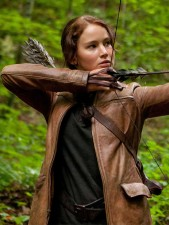Katniss Everdeen Hunger Games Brown Real Cowhide Leather Jacket
