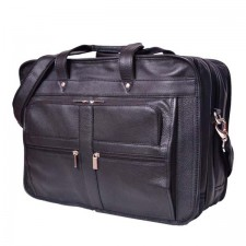 Black Overnight real leather laptop bag