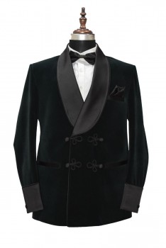 Men's Smoking Velvet Stylish Green Shawl Blazer Coat Jackets