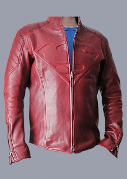 Superman man of Steel & Smallville Red real leather jacket