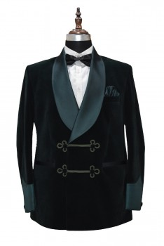 Men Smoking Velvet Stylish Green Shawl Blazer Coat Jacket