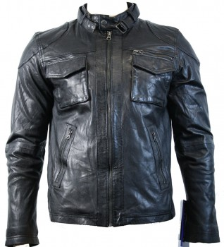 Men's fashionable black retro real leather jacket