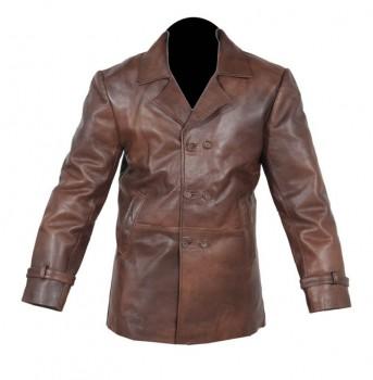 Vintage mens brown distressed real leather pea coat