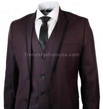 Men Designer Wedding Grooms Burgundy Dinner Casual 3 Piece Suit