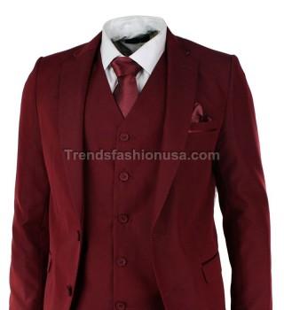 Men Designer Wedding Grooms Maroon Dinner Casual Suit