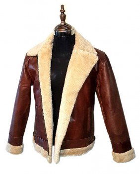 Men aviator B3 style cow-hide leather bomber flying jacket