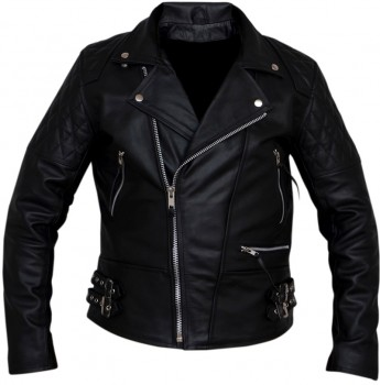 Vintage classic diamond motorcycle biker real leather jacket