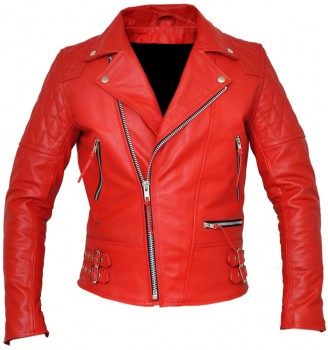 Vintage classic diamond motorcycle biker red real leather jacket