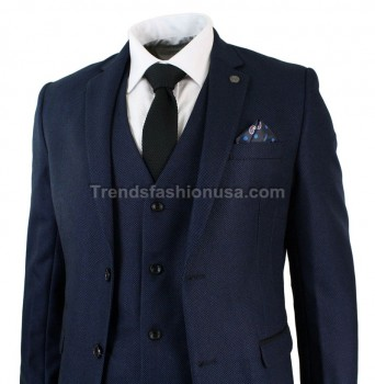 Men Designer Wedding Grooms Navy Blue Doted Dinner Casual 3 Piece Suit