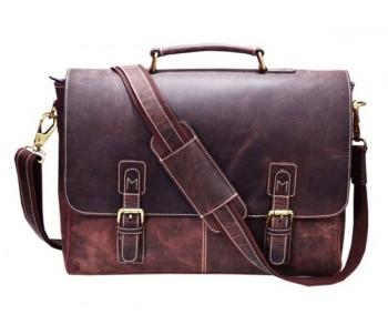 Dark Brown Real Leather Laptop Bag