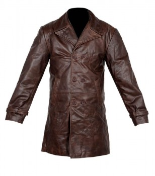Vintage men brown distressed long leather trench coat