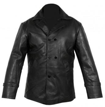 Vintage mens black real leather pea coat jacket