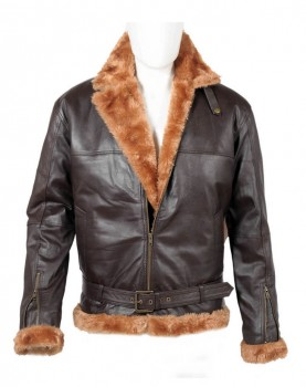 Men B3 brown ginger sheepskin real leather jacket