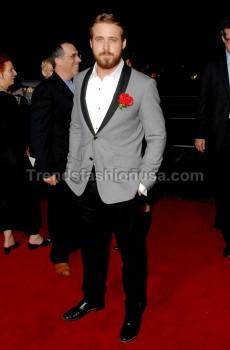 Ryan Gosling Prom Wedding Grooms Grey Tuxedo Suit