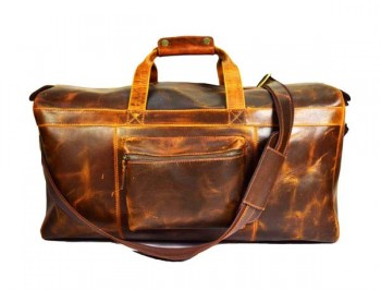 Vintage handmade weekend brown Gym duffel sora travel real leather bags large