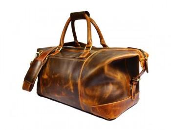 Vintage handmade weekend brown Gym duffel travel real hunter leather bags large