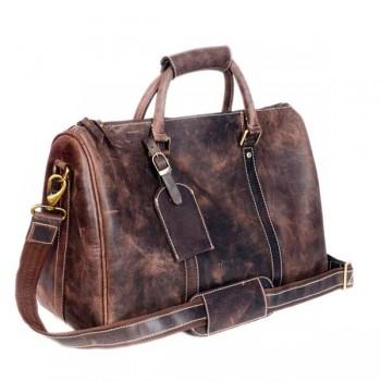 Drak Brown Gym duffel leather bag