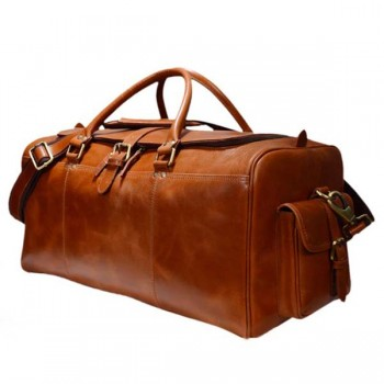 Brown real leather weekend duffel Travel Leather bag