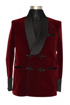 Men designer maroon smoking velvet jacket blazers