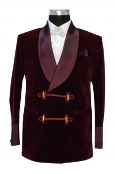 Men's Bilberry Smoking Velvet Stylish Burgundy Shawl Blazer Coat Jackets