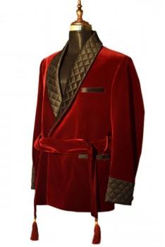 men designer belted maroon smoking velvet jacket blazers