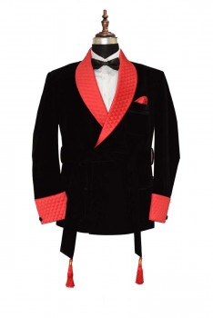 Black and red smoking velvet jacket