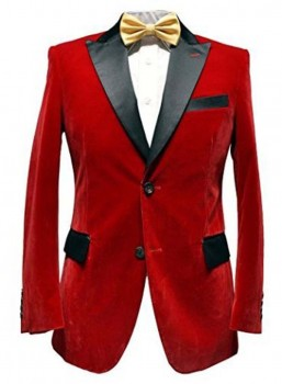 Men Red Smoking Velvet Jacket